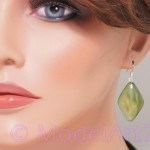 Earrings MOP Green