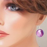 Vine mother of pearls round earrings