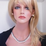 Black&White three rows freshwater pearls set