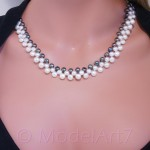 Black&white freshwater pearls necklace