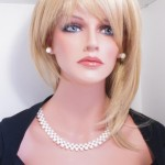 White three rows freshwater pearls set