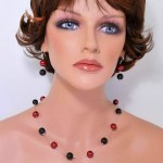 Red&Black glass pearls necklace and earrings set