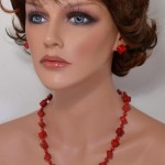 Red cube sea coral gemstone set of earrings and necklace