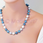 Blue 12mm pearls Necklace