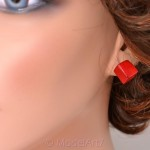 Red coral cube gemstone earrings