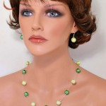 Glass pearls 10mm necklace and earrings set