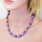 Lilac mix of 12mm pearls necklace