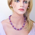 Lilac mix of 12mm pearls necklace and earrings set