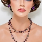 Glass pearls lilac necklace